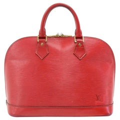 Vintage Louis Vuitton Alma Carmine Red Epi Leather Hand Bag