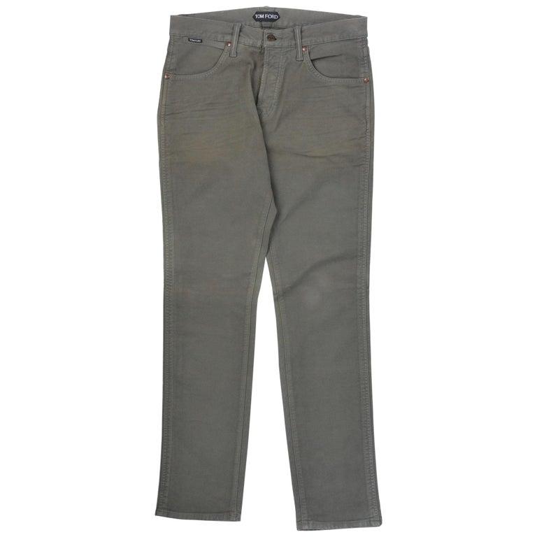Tom Ford Men's Light Olive Green Tapered Jeans