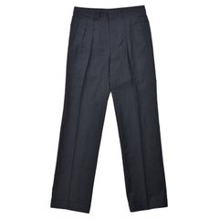 Tom Ford Men's Dark Grey Wool Twill Pleated Slacks