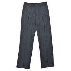 Tom Ford Men Grey Black Wool Twill Pleated Trouser