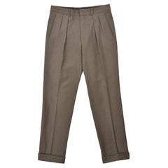 Tom Ford Men's Olive Green Pleated Front Trousers