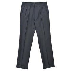 Tom Ford Men's Grey Blue Cotton Pleated Trousers