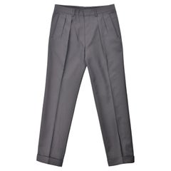Tom Ford Men Grey Pleat Front Slim Leg Trouser