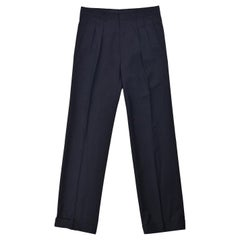 Tom Ford Men Black Wool Pleat Straight Trousers