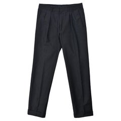 Tom Ford Men's Black Cotton Pleated Front Trousers