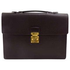 Vintage Louis Vuitton Serviette Kourad Burgundy Taiga Leather Briefcase Bag