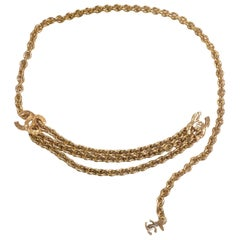 Chanel Vintage golden chain belt with triple layer chains and 3 CC marks