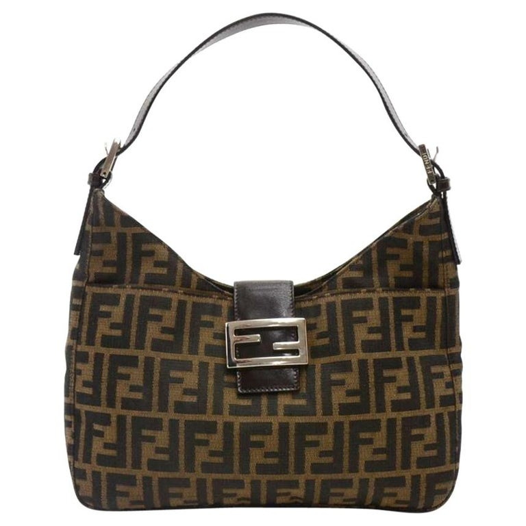 b26279d494 ... Fendi Tobacco Zucca Monogram Canvas   Brown Leather Small Hobo Bag For  Sale ...