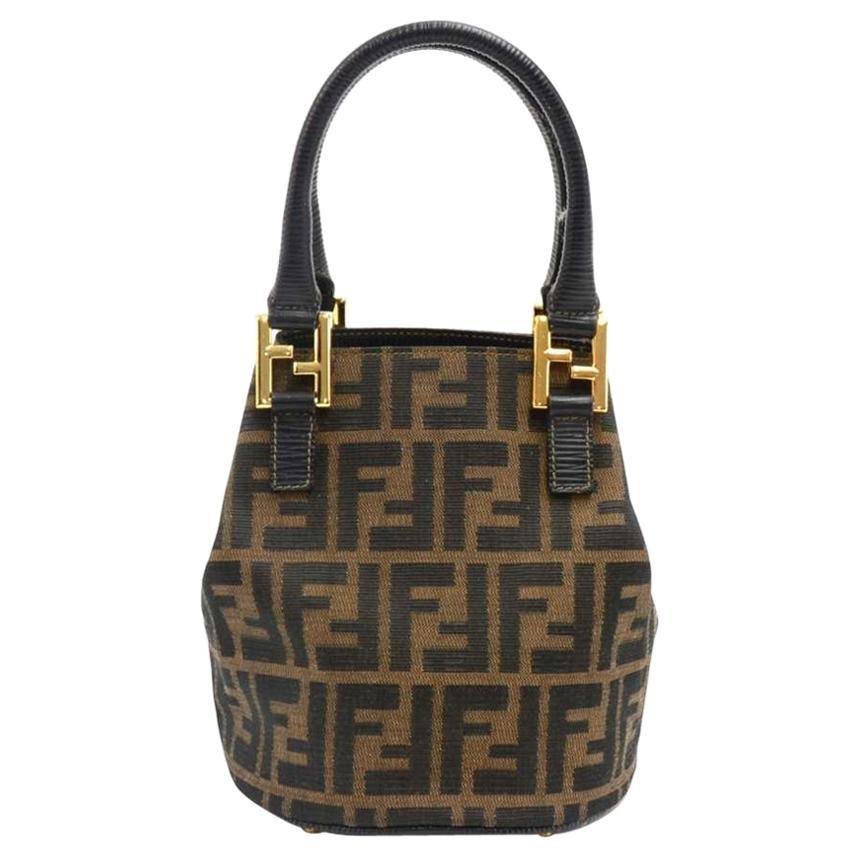 71c5e655a3a7 ... reduced vintage fendi tobacco zucca monogram canvas mini bucket bag for  sale e1318 babd3