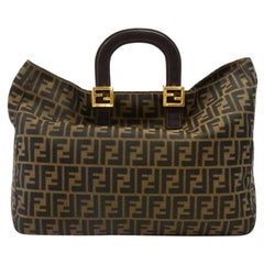 Vintage Fendi Tobacco Zucca Monogram Canvas & Brown Leather Large Top Handle Han