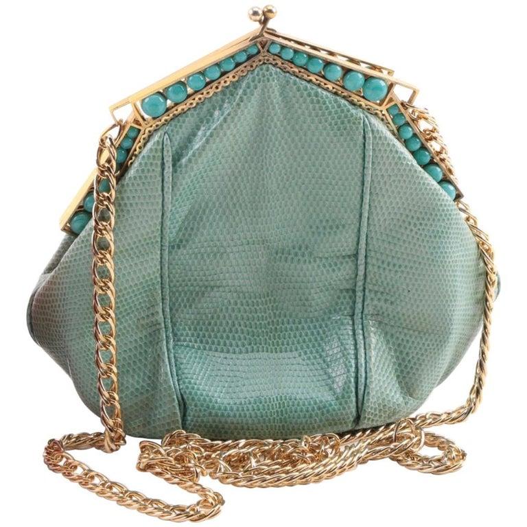 Art Deco Gold Plate c 1930 Frame Snakeskin Evening Bag Turquoise Stones
