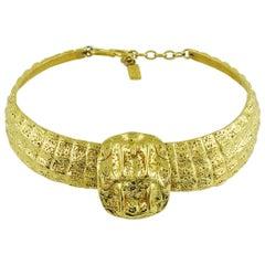 Yves Saint Laurent YSL Vintage Gold Toned Croc Choker Necklace