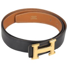 Hermes Vintage Leather Reversible Belt Gold Metal H-Buckle