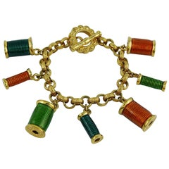 Nina Ricci Vintage Multicolored Sewing Thread Spool Charm Bracelet