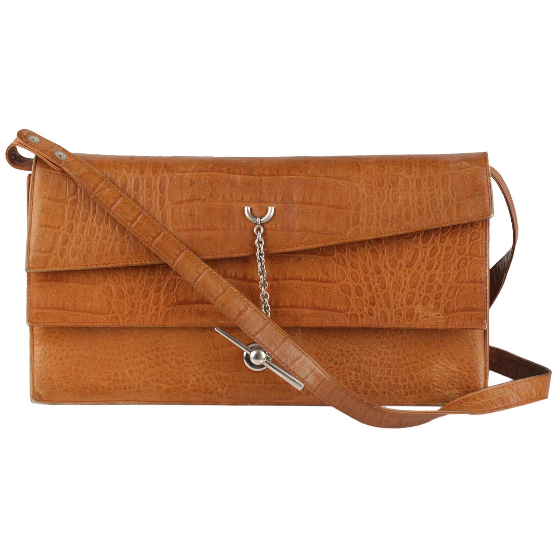 5334bff2b1 Gianni Versace Vintage Tan Embossed Leather Clutch Shoulder Bag at 1stdibs