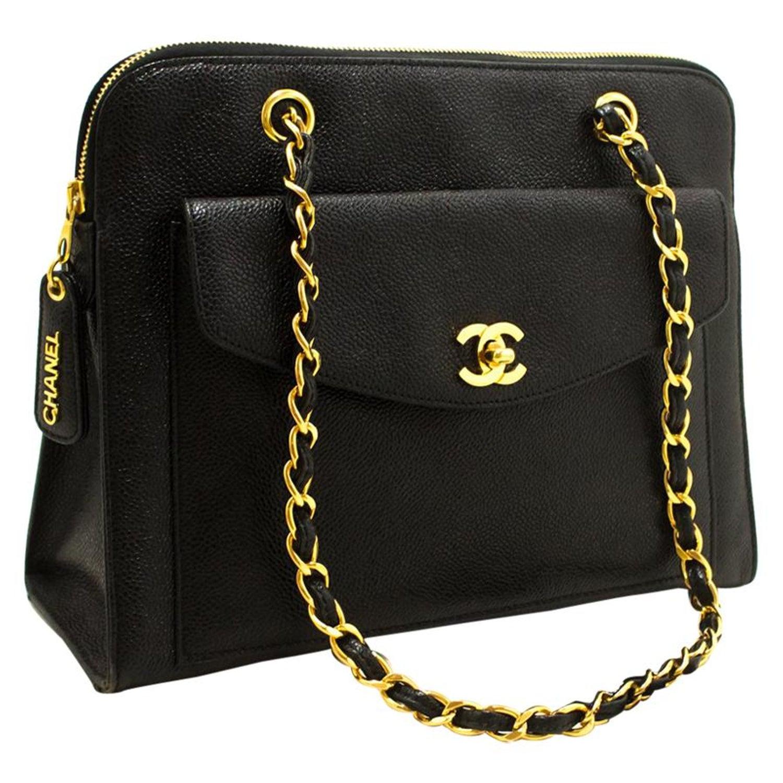 daa5f829bf83 Chanel Caviar Large Chain Black Leather Gold Hardware Shoulder Bag at  1stdibs