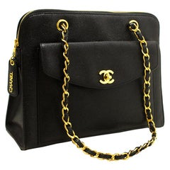 Chanel Caviar Large Chain Black Leather Gold Hardware Shoulder Bag
