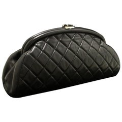 Chanel Lambskin Timeless Black Quilted Leather Silver Clutch Bag