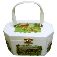 Annie Laurie Palm Beach Equine Decoupage Box Purse, 1970s