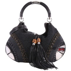 Gucci Indy Hobo Embellished Wool with Snakeskin Large