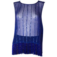 Blue Vintage Beaded and Sequined Shell Top