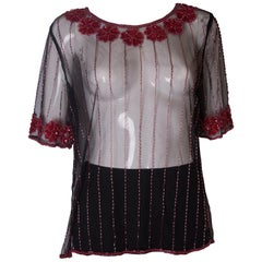 Net T Shirt Shirt with Sequin and Bead Embellishment, 1970s
