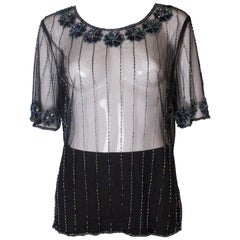 Vintage Net T Shirt with Sequin and Bead Embellishment
