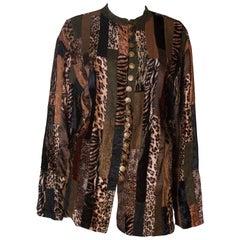 Animal print Vintage Velvet Jacket