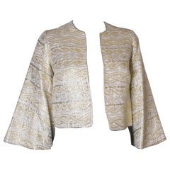 Gold and Silver Vintage Evening Jacket with Fluted Sleeves, 1970s
