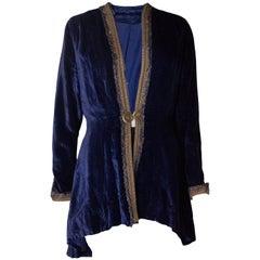 Blue Silk Velvet Vintage Jacket, 1930s
