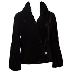 Silk Velvet Vintage Jacket with Quilted Collar and Cuffs