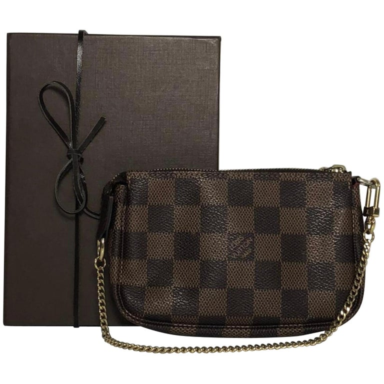 Louis Vuitton Damier Ebene Pochette Accessories Mini Wristlet