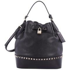 Valentino Rockstud Top Handle Bucket Bag Leather Medium