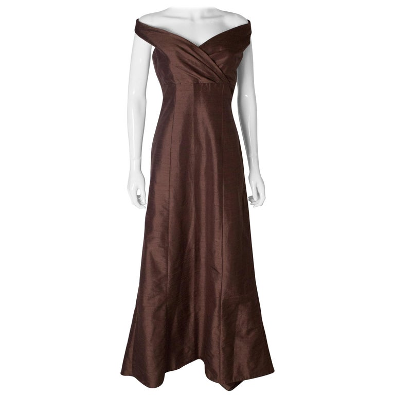 Brown Silk Vintage Gown For Sale