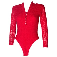 Red Lace Vintage Bodysuit, 1980s
