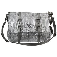 Prada Pleated Silver Leather Bag