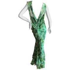 John Galliano 2002 Green Silk Paisley Ruffled Evening Dress with Low Cowl Back