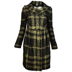 Burberry London Plaid Double Breasted Coat With Pleated Skirt