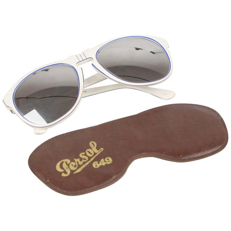 e2c3be6bdf Persol Ratti Vintage White Sunglasses Mod. 649 3 Sport Mirrored Lens For  Sale at 1stdibs