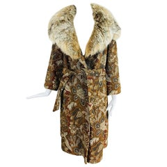 Abraham & Straus Tapestry coat with fur collar and wrap belt, 1960s