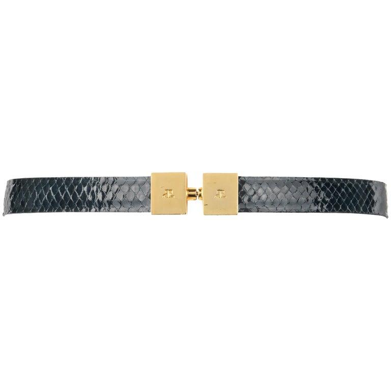 COURREGES Black Patent Snakeskin Leather Turn Lock Closure Waist Belt