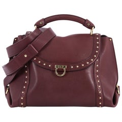 Salvatore Ferragamo Soft Sofia Satchel Studded Leather Medium