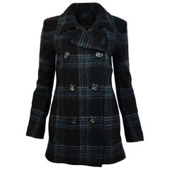 Louis Vuitton Navy Blue Wool Tartan Plaid Double Breasted Jacket