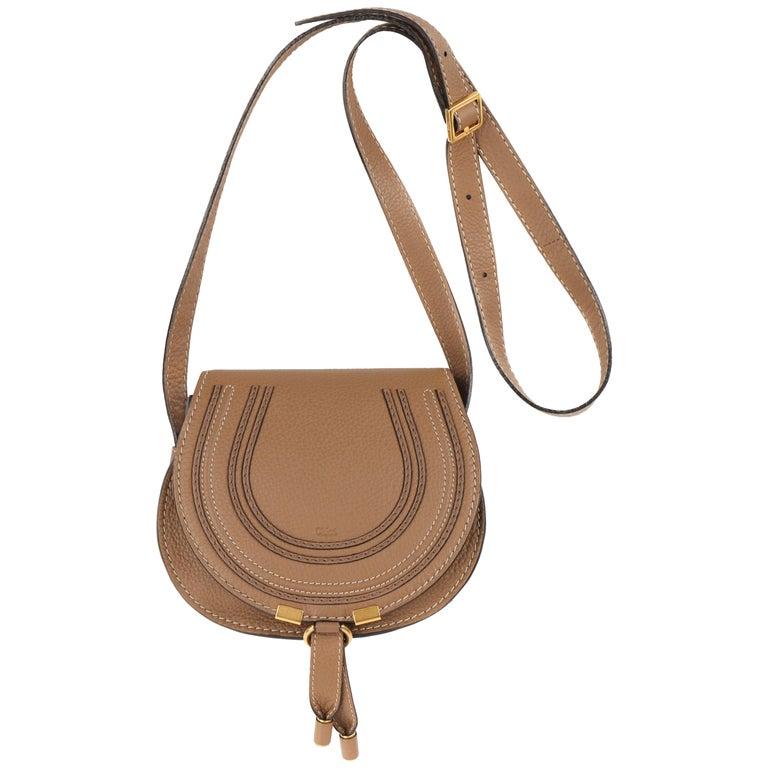 Chloe Mini Marcie Chestnut Grained Calfskin Leather Crossbody Saddle Bag Nwt