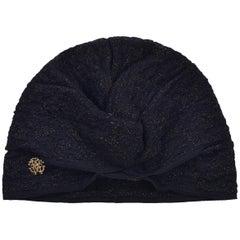Roberto Cavalli Womens Black Lurex Ruched Knit Turban