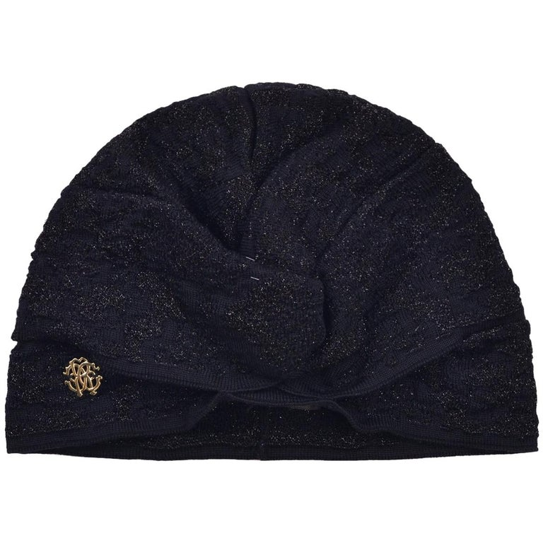 Roberto Cavalli Womens Black Lurex Ruched Knit Turban