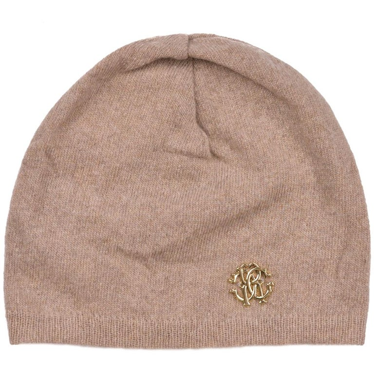 Roberto Cavalli Womens Light Brown Thin Knit Cashmere Hat For Sale