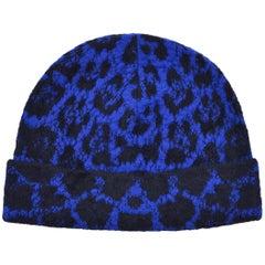 Roberto Cavalli Womens Blue Black Wool Blend Cheetah Hat