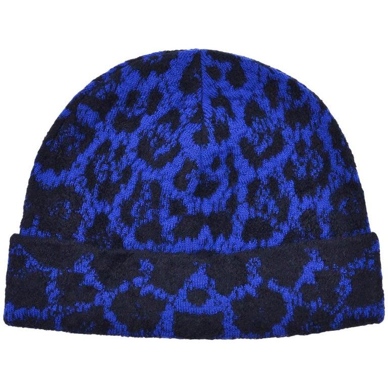 Roberto Cavalli Womens Blue Black Wool Blend Cheetah Hat For Sale at ... e25c5cf7fc7