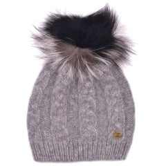 Roberto Cavalli Womens Grey Alpaca Cable Knit Fox Fur Hat